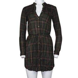H&M Olive Plaid Belted Button Down Shirt Dress
